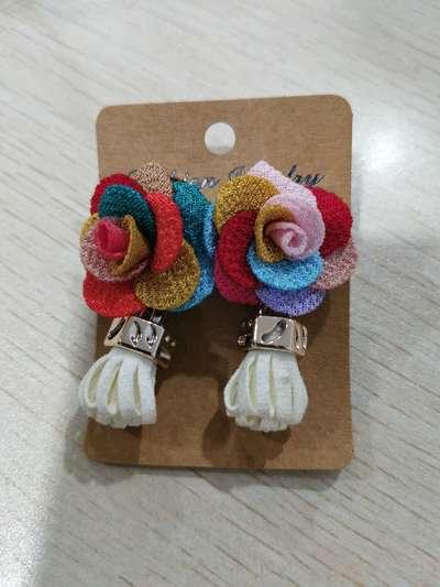 彩色布艺耳环1
