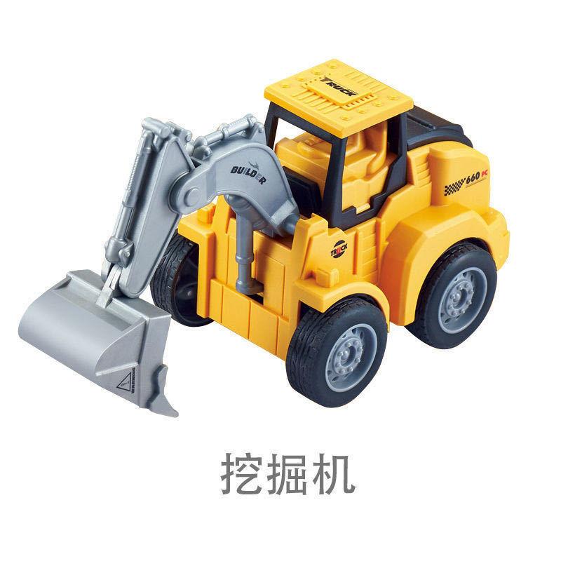 地摊热卖按压行走工程车挖机仿真益智爬行儿童回力车玩具工厂直销