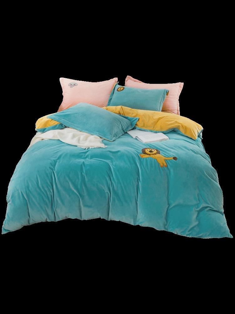 家纺床上用品牛奶绒床单被套学生宿舍单人床三 四件套聚