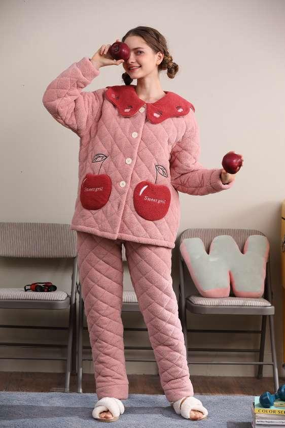睡衣秋冬泡泡绒三层夹棉加绒加厚套装珊瑚绒保暖可外穿家居服