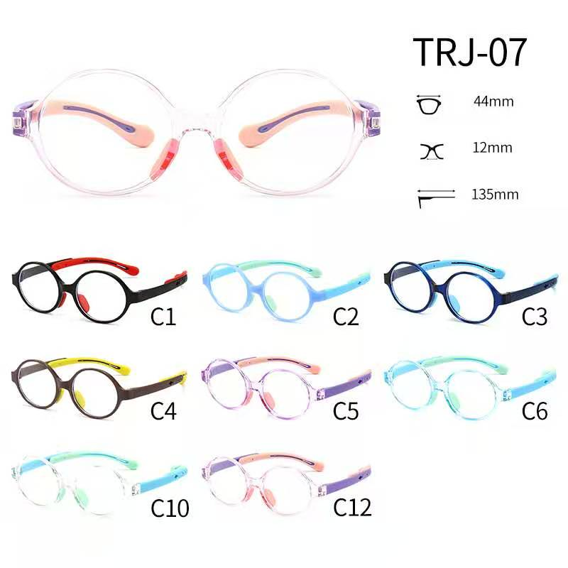 TRJ-07有现货硅胶TR超轻近视眼镜框架儿童小学生硅胶眼镜框斜视弱视远视散光矫正可配度数眼镜架