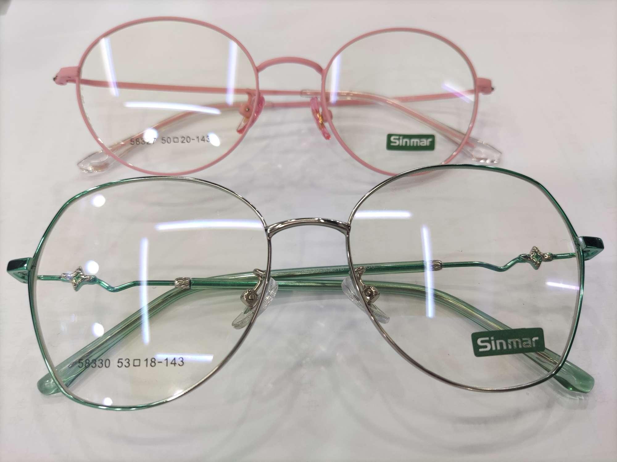 粉色方框圆框绿色多边形金属女士男士光学眼镜近视镜架轻便