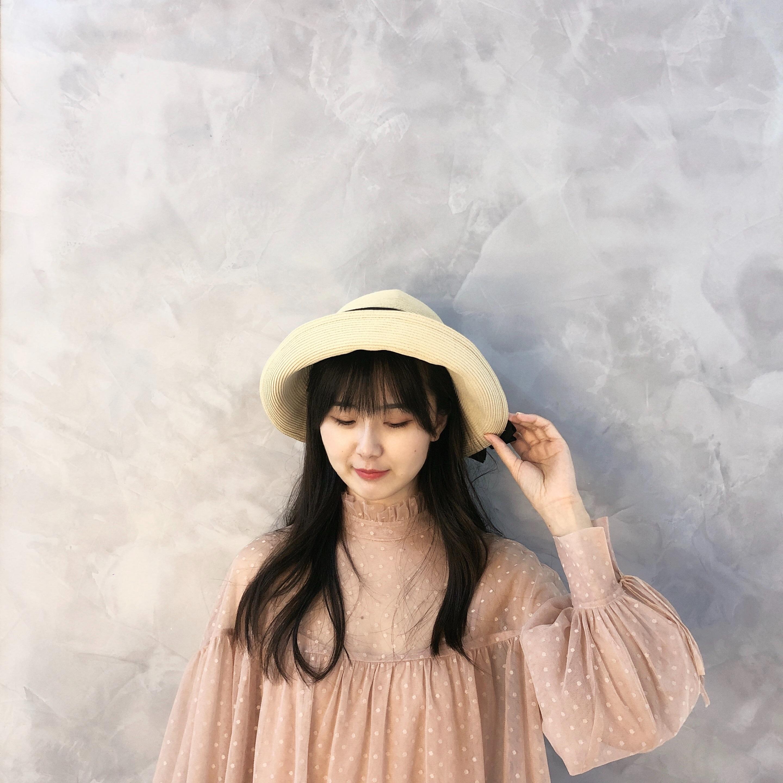 KK HAT 日系简约极细编织褶皱帽带装饰可折叠遮阳防晒草帽沙滩