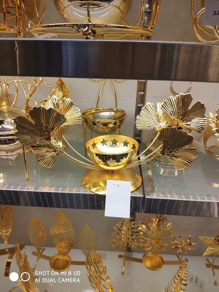鸟巢型镀金色铁艺玻璃底托盘 欧式托盘镜子托盘餐具 家用创意日式餐盘北欧茶具套餐水果盘04