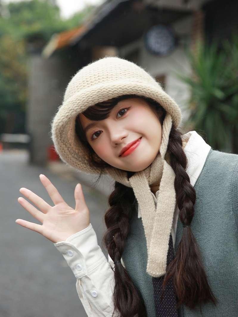 毛毛帽业麻海帽卷边长生毛线帽韩版针织毛线帽可爱秋冬针织帽
