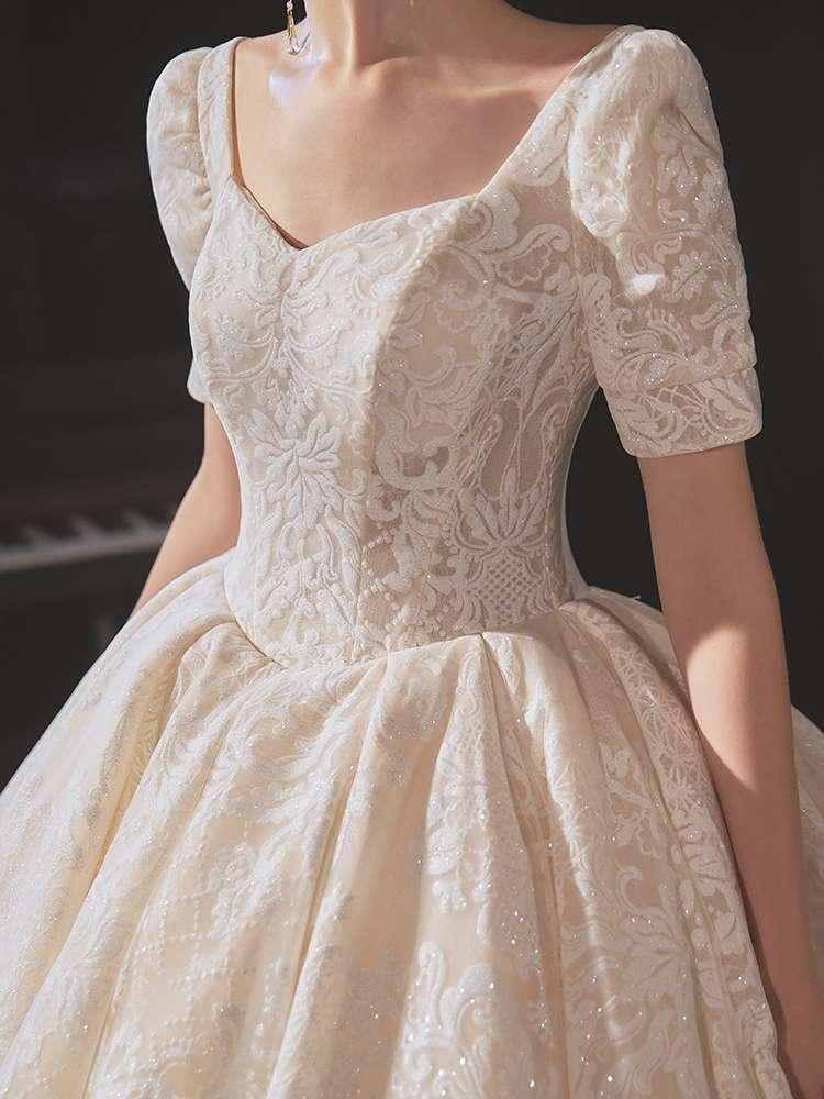 婚纱2020新款拖尾气质超仙小个子新娘高端复古赫本法式简约出门纱