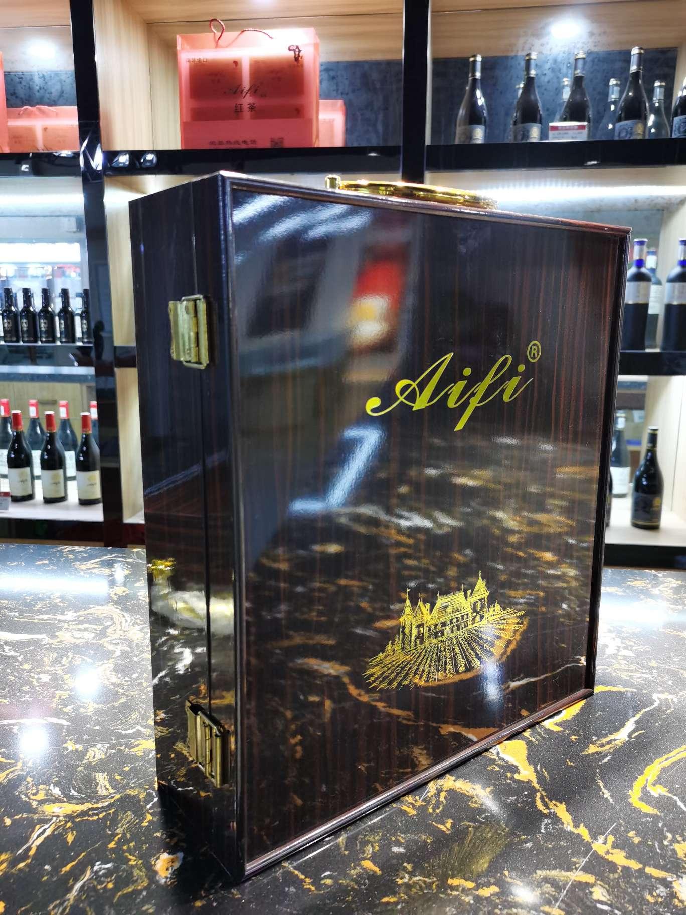 高档黑檀三支装葡萄酒礼盒量多可优惠