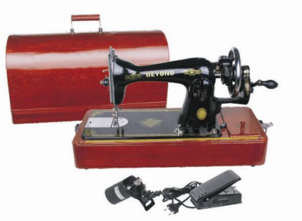 贝洋缝纫机老式手提式缝纫机带木箱带手摇带电动