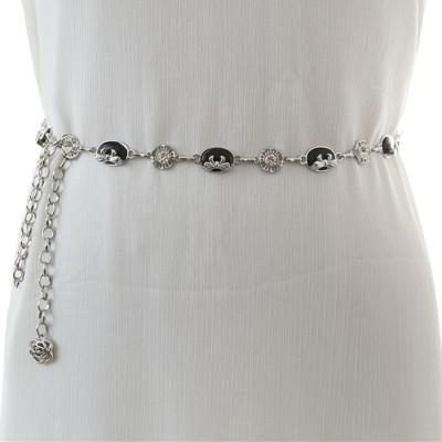 腰链女士装饰细腰带简约百搭配裙子连衣裙水钻镶嵌时尚小皮带裙带