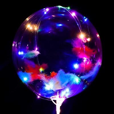 网红发光透明双层波波球中球带灯火爆款卡通羽毛长手柄闪灯批005