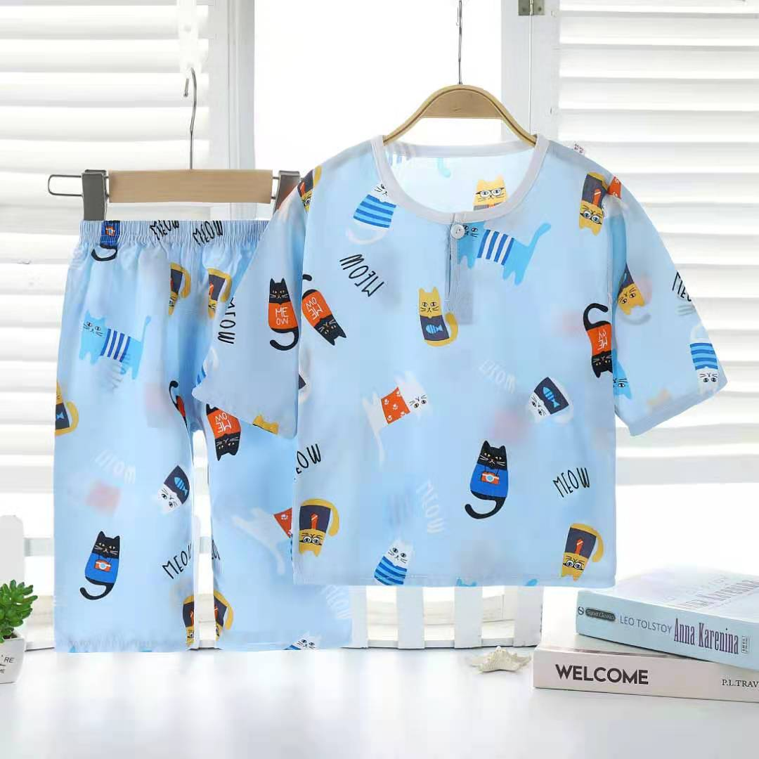 夏季儿童棉绸睡衣男童女童宝宝绵绸中袖夏天薄款空调服家居服套装