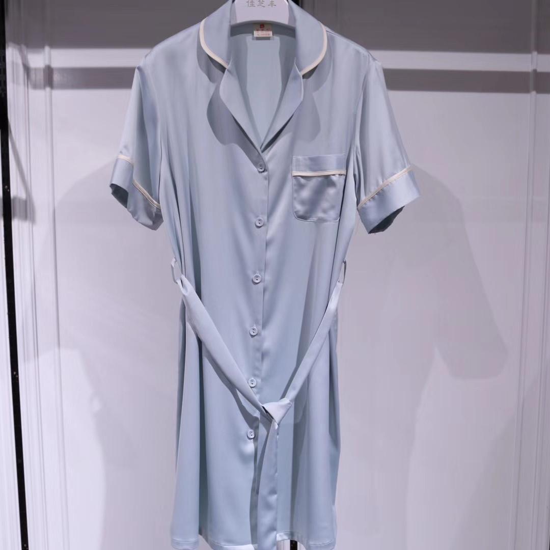 纯色 睡衣 家居服 女短袖裙