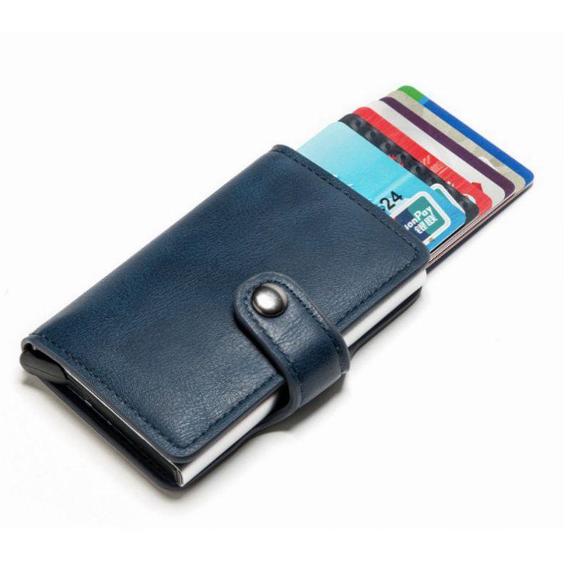自动弹出pu信用卡盒 外贸 防盗刷RFID卡包 金属钱包银行卡盒