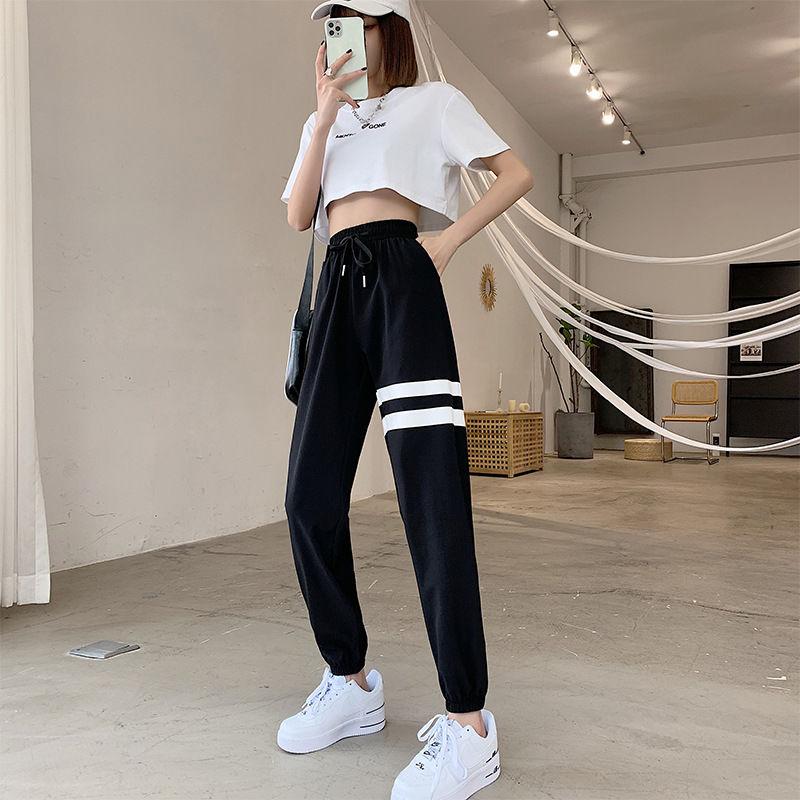 爆冰速干运动裤灰色束脚裤女夏显瘦瑜伽裤宽松夏季薄款时尚速干裤口袋款