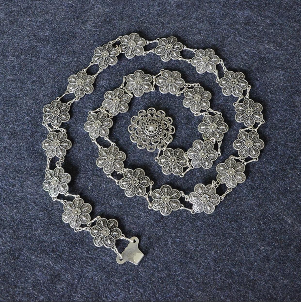 新款民族风复古钱币腰链 女士花朵花纹装饰肚皮舞金属腰带