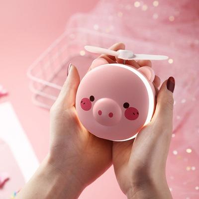 新款创意小猪化妆镜USB小风扇充电迷你可爱随身带灯便携美妆礼品