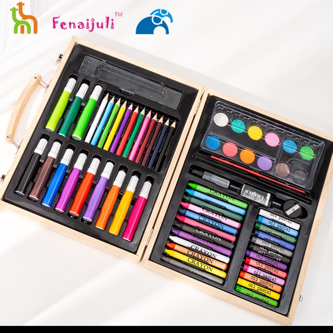 儿童绘画礼盒68套件原木色木盒美术套装水彩笔彩铅画画笔可定制