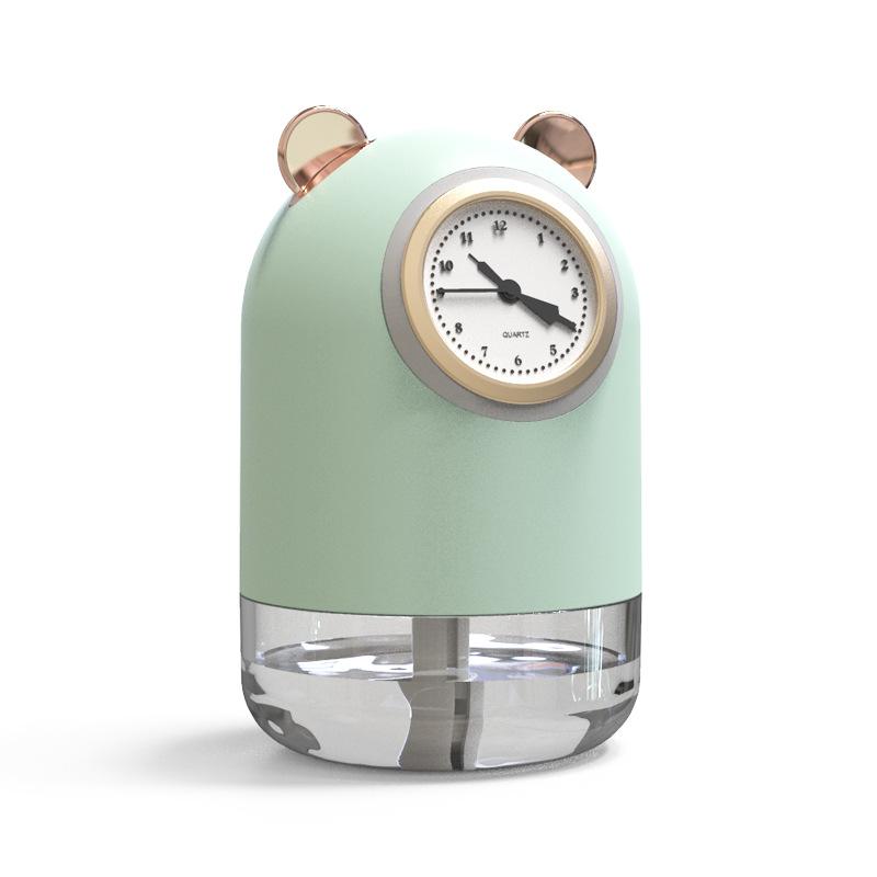 新款萌宠迷你钟表加湿器家用USB小型便携补水空气夜灯跨境礼品