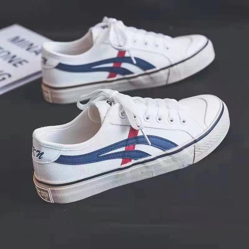 布面低帮帆布鞋女2021新款春夏港风系带平底板鞋ins女学生小白鞋