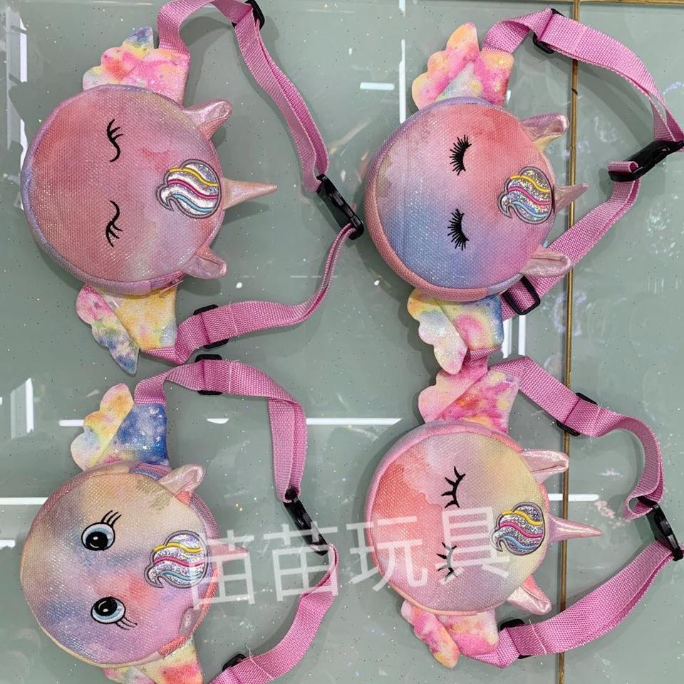 新款可爱儿童幻彩腰包小号圆形独角兽包包女童男童腰包