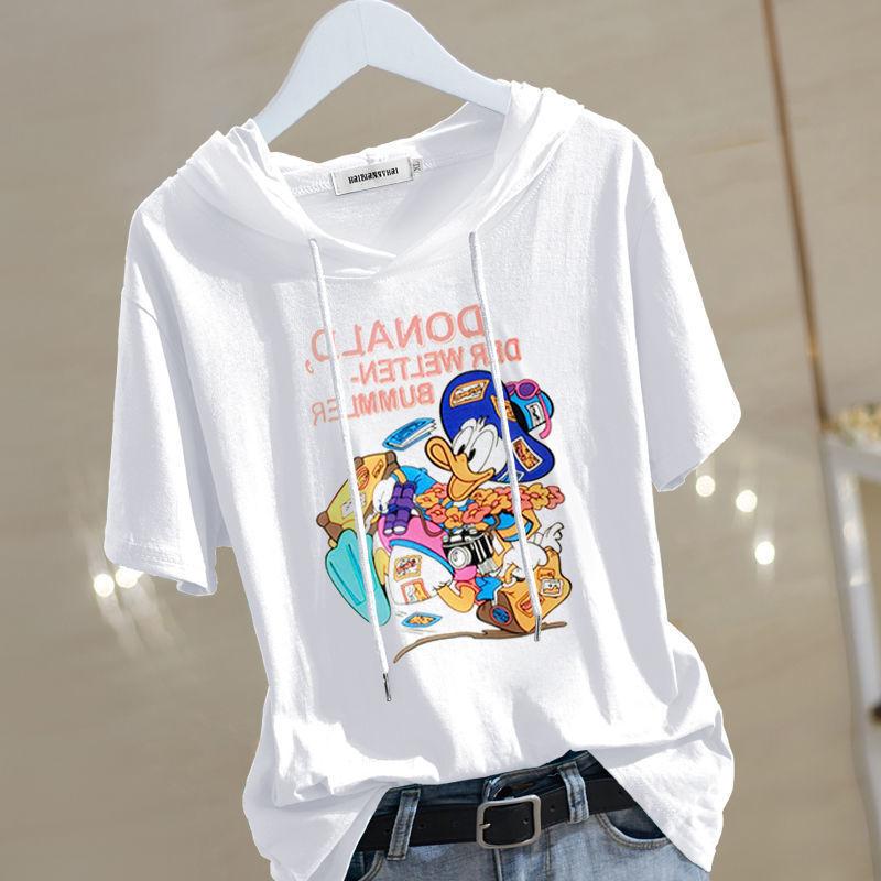 【高品质100%纯棉】短袖2021年夏季新款t恤女宽松大码连帽女士潮17