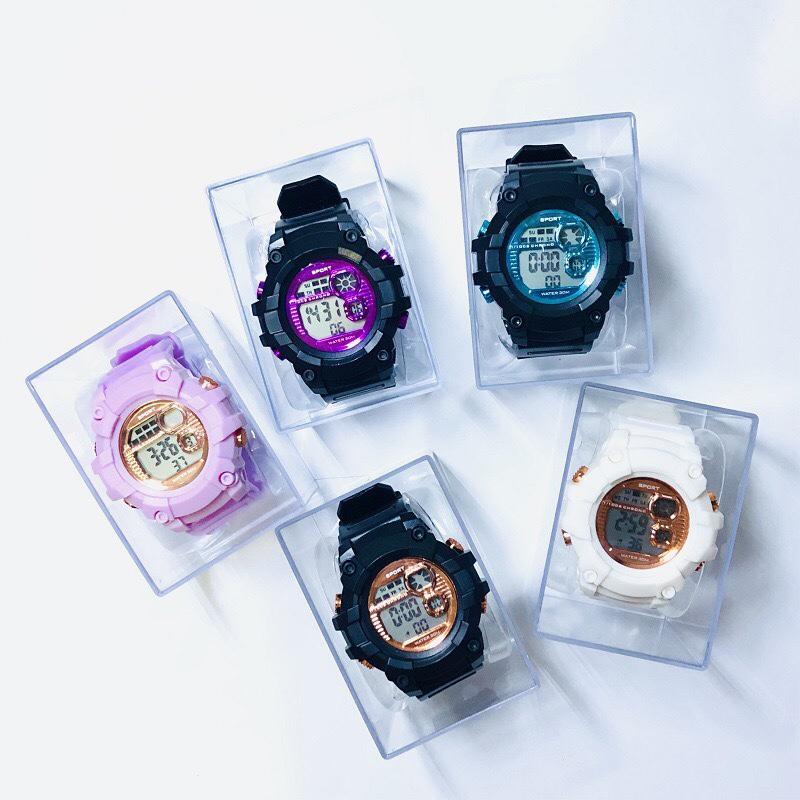 新款学生运动电子手表 夜光多功能盒装学生手表 ins糖果色男女通用腕表