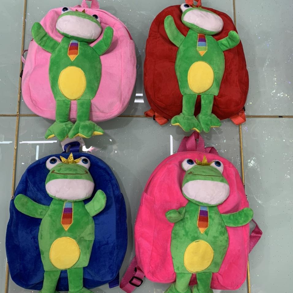 毛绒书包、毛绒双肩包、新款儿童可爱毛绒公仔动物卡通青蛙立体书包