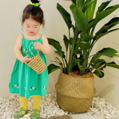 绿色吊带连衣裙夏季女童1