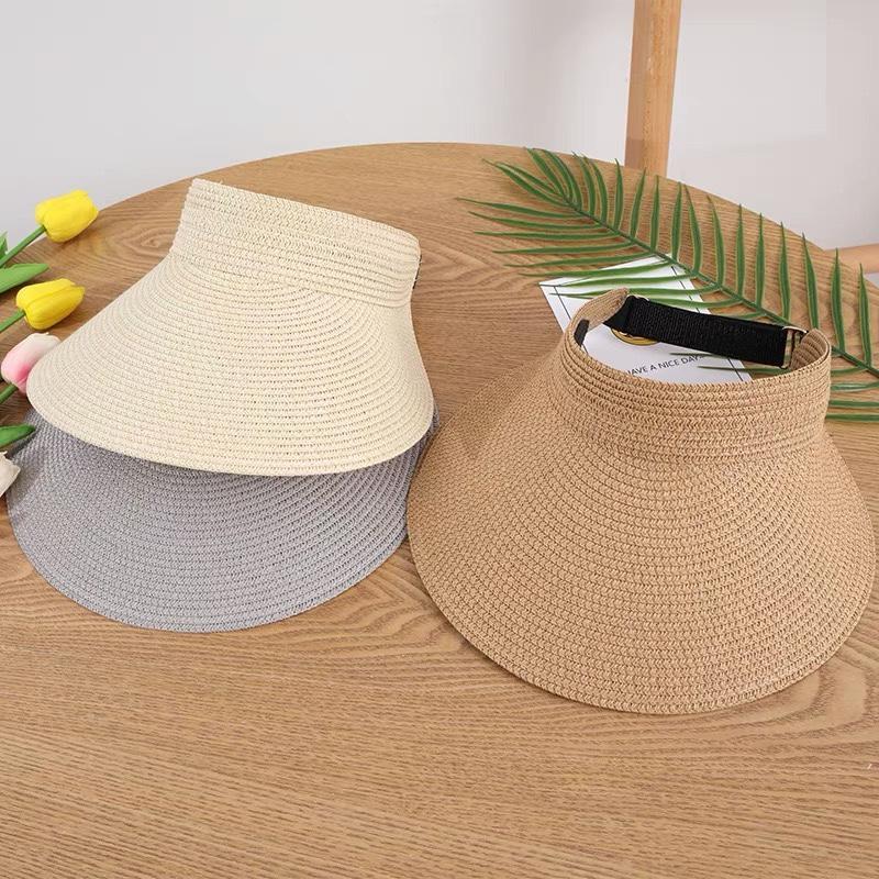 夏季遮阳鸭舌帽大帽檐空顶草帽女沙滩海边简约露顶帽无顶防晒帽子