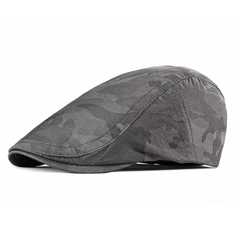 防雨布前进帽贝雷帽夏季时尚潮英伦帽子男卡其色男士潮牌韩版休闲鸭舌帽