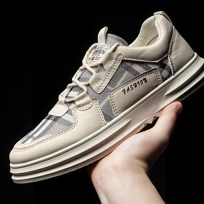 2021春季新款男生板鞋格子系带韩版男鞋透气潮流运动休闲鞋子批发