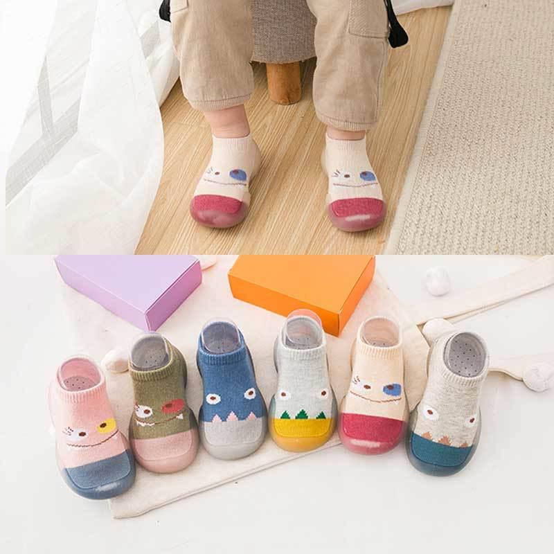 拼色硅胶软底婴童学步袜软底鞋