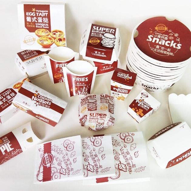 蛋糕盒、塑料盒、淋膜杯防油纸杯一次性饭盒打包盒牛皮纸盒沙拉盒 包装盒 烘焙用品 一次性 牛皮 白色 金色 纸袋