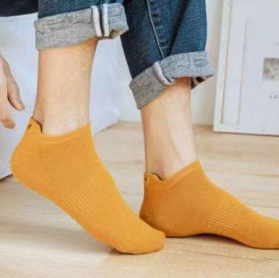男士黄色棉袜