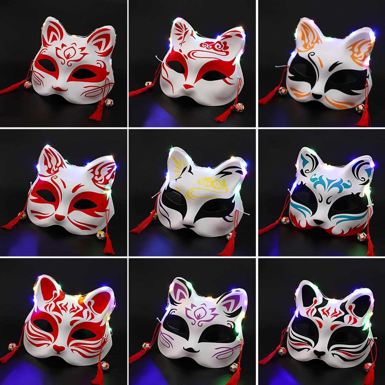 发光彩绘日式和风狐狸面罩古汉服化妆舞会cos动漫猫脸狐妖面具