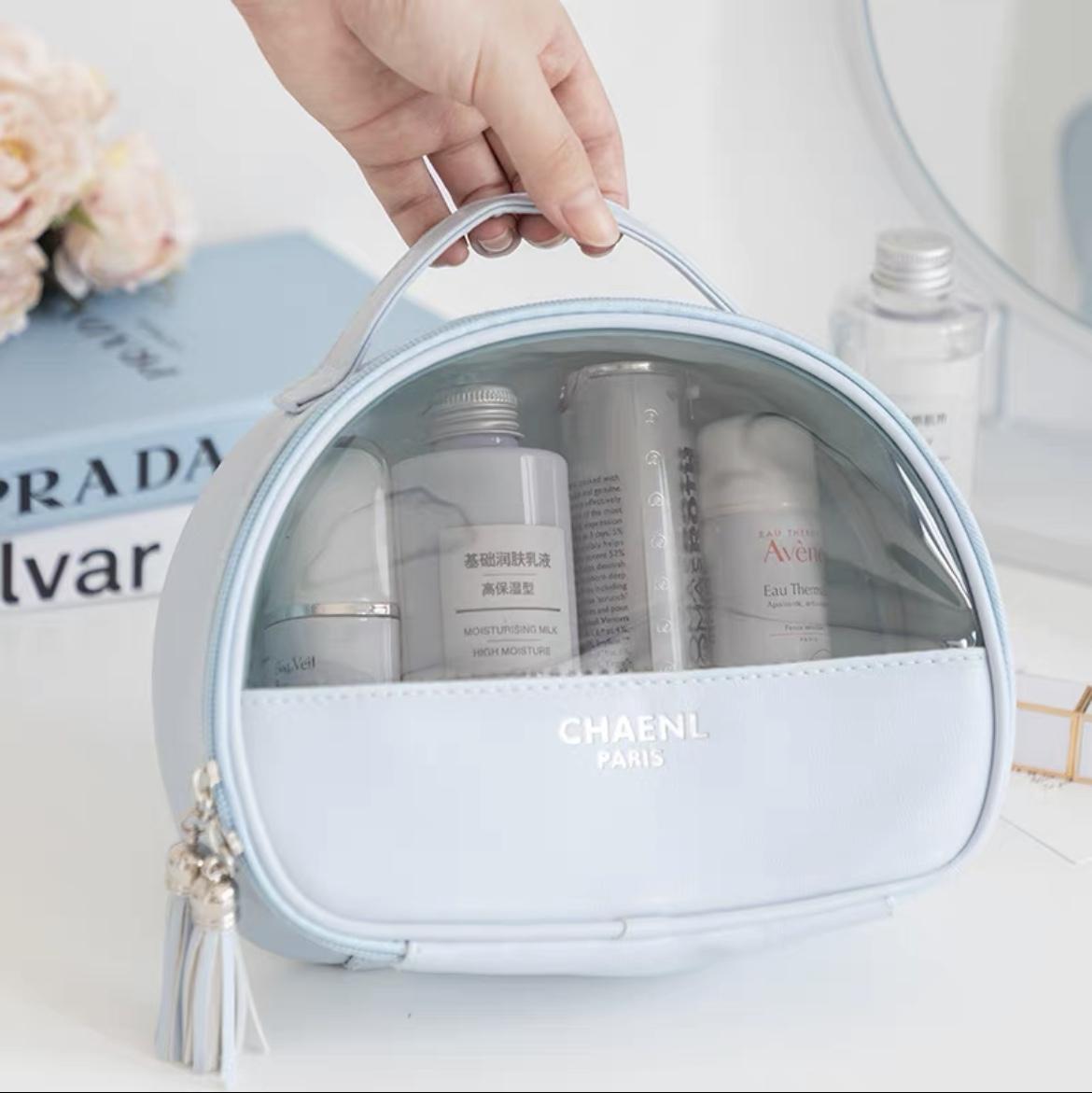 透明大容量化妆包蓝色女便携化妆品收纳包超火旅行防水洗漱包2021新款