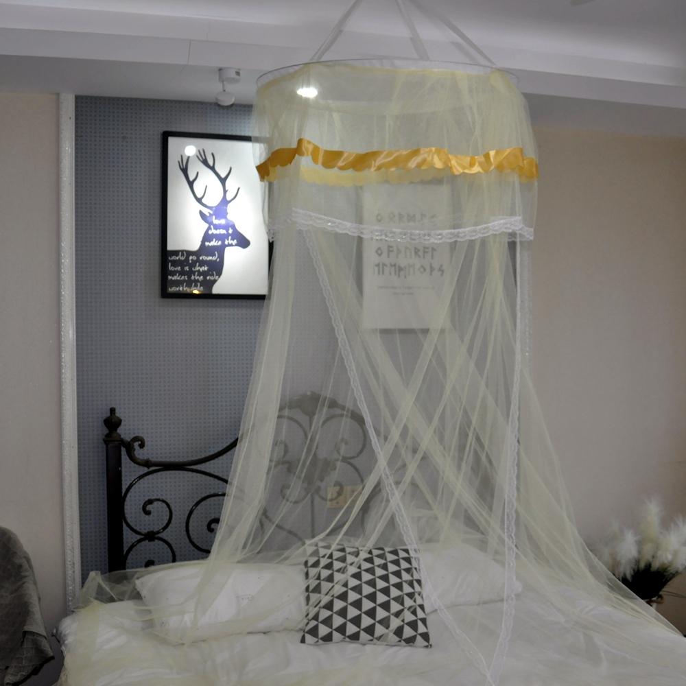 外贸通用现代简约宫廷圆形一体式蚊帐吊顶公主蚊帐