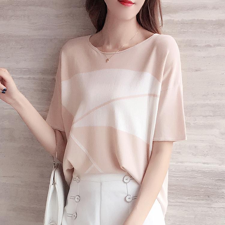 冰丝短袖T恤女2021新款夏装薄款针织衫宽松蝙蝠袖洋气一字领上衣17