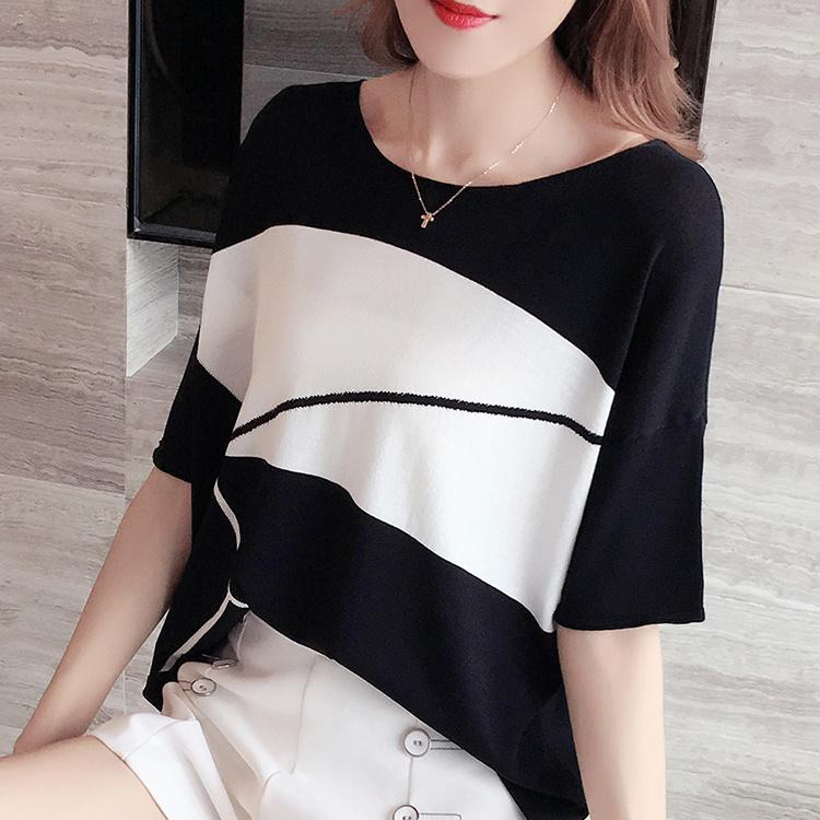 冰丝短袖T恤女2021新款夏装薄款针织衫宽松蝙蝠袖洋气一字领上衣18
