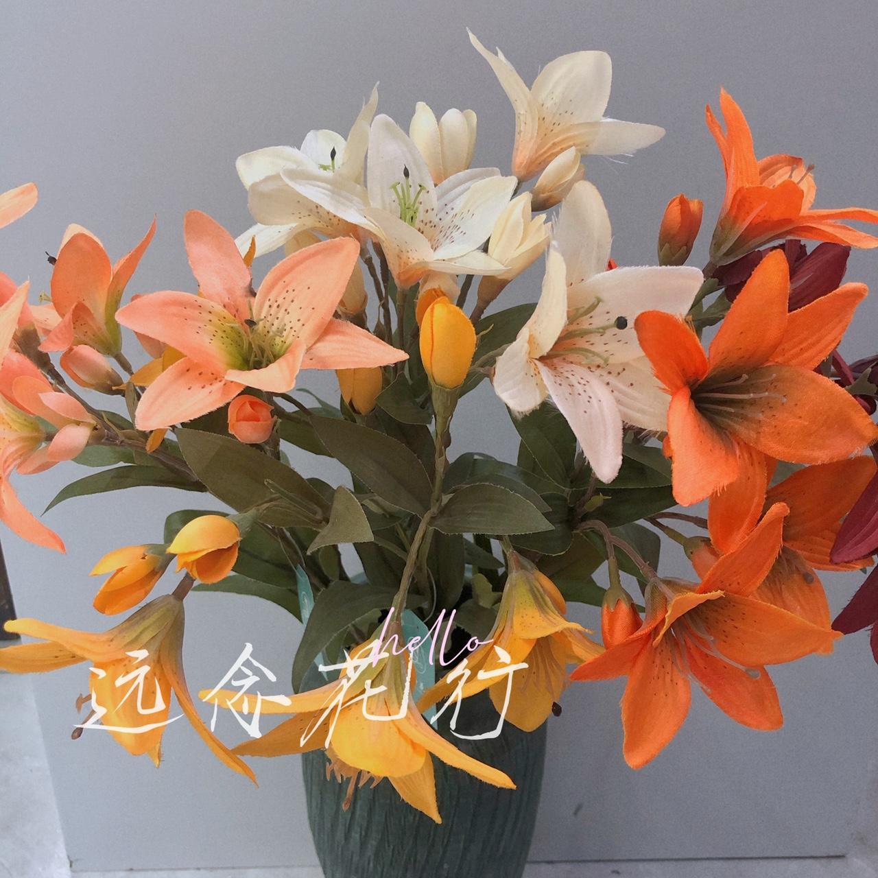 【远念花行】单支复古小百合 仿真花