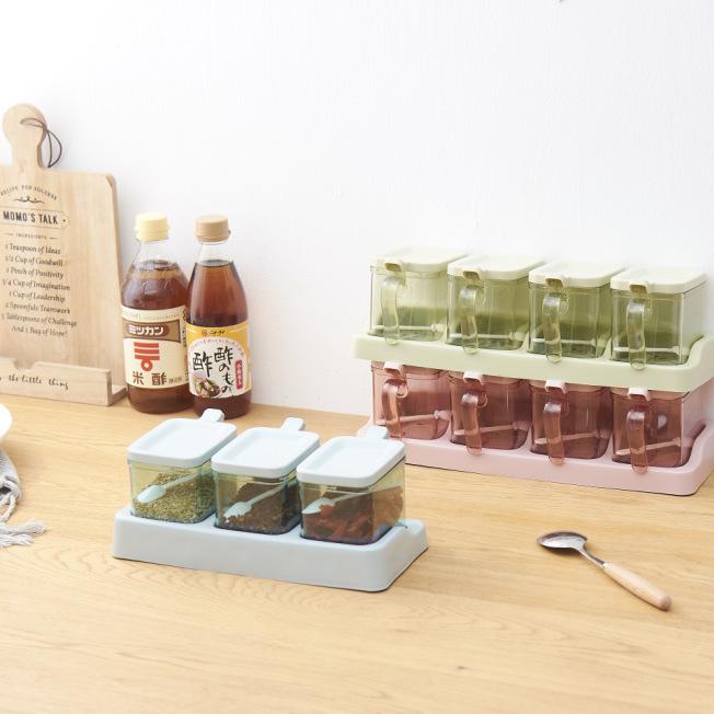 H01-1244三组方调味盒北欧风多格调味盒套装家用调料罐厨房用品