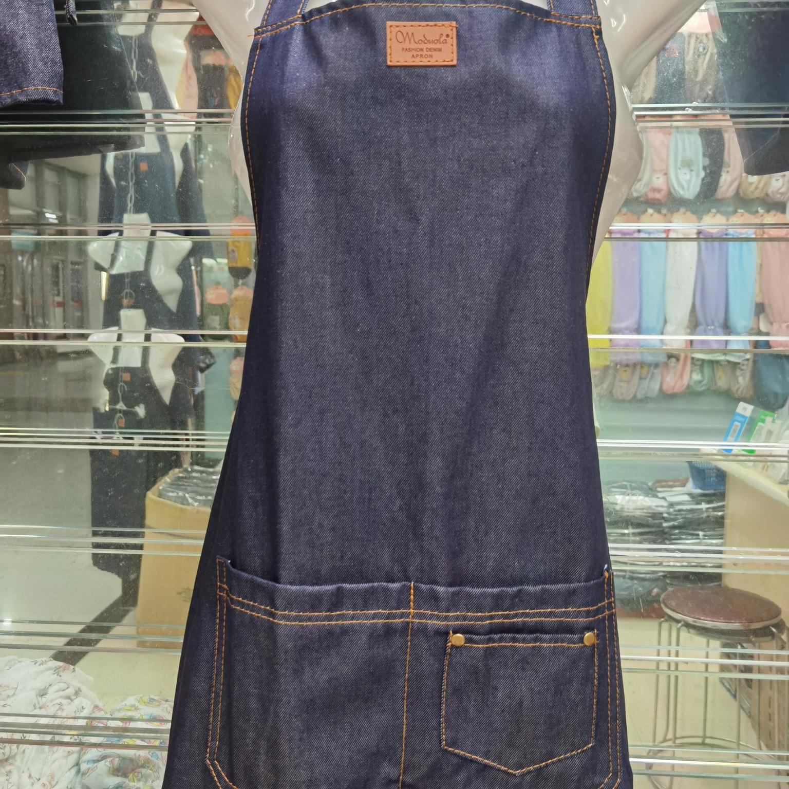 咖啡师韩版成人时尚绘画牛仔围裙,西餐厅酒吧女款加铆钉工作围裙