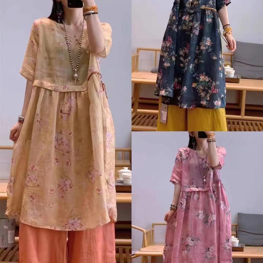 新款苎麻连衣裙