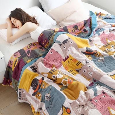 义乌好货夏季卡通可爱亲肤透气空调毯五层纯棉纱布毛巾毯 毛巾被学生宿舍盖毯单人双人毛巾被
