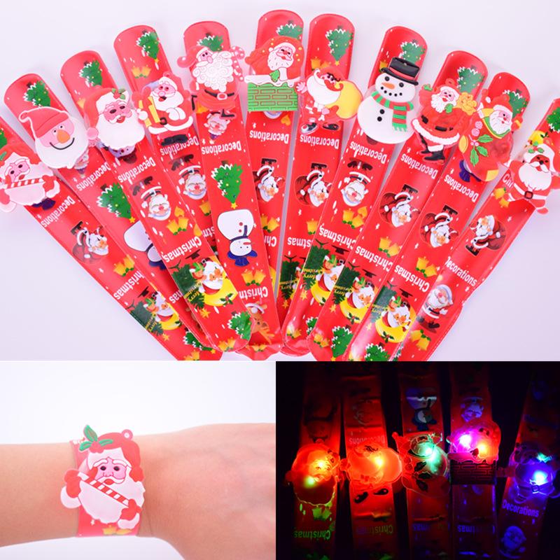 圣诞表带圣诞啪啪圈毛绒啪啪圈发光手镯软胶圣诞项链陀螺项链表带手圈手环
