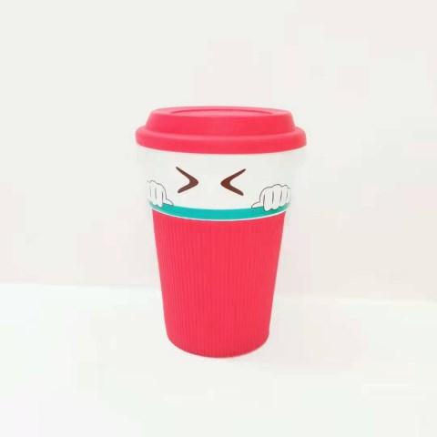 陶瓷茶杯表情早餐奶茶杯硅胶隔热套