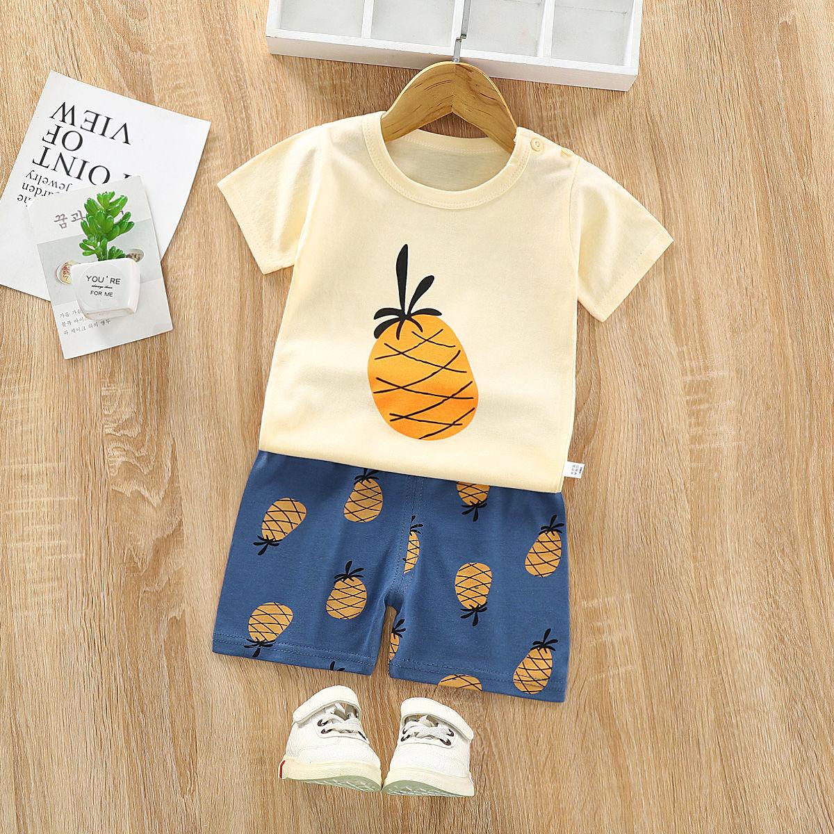 儿童短袖套装宝宝短裤婴儿衣服夏装2
