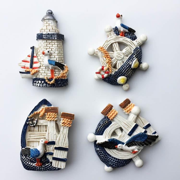 地中海风格简约创意舵盘帆船树脂冰箱贴