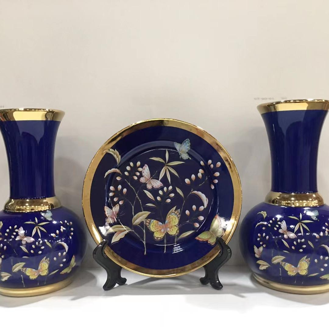 电镀陶瓷花瓶四件套