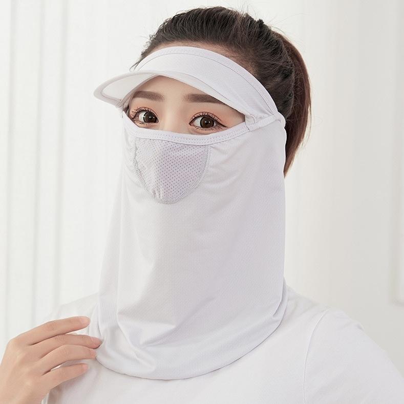 长款冰薄护眼角防晒口罩面罩女遮阳防紫外线防尘透气防晒帽可清洗